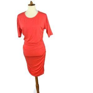 Athleta Dress Orange Ruched  Midi Size  XS